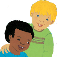 Spot image of a black boy and a white boy from Davids Drawings by Cathryn Falwel