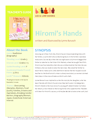 Teacher's Guide - Hiromi's Hands | Lee & Low Books